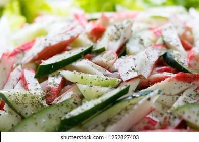 close kani with cucumber salad