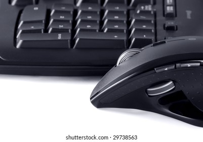 Close up of keyboard and mouse on white background