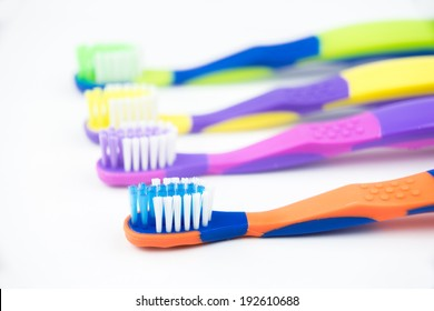 close up kid toothbrush isolated on white