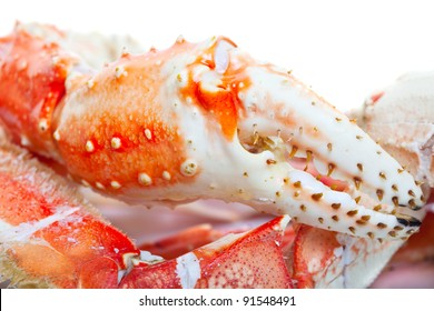 Close up of king crab legs.