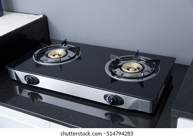 Close Up Of Kitchen Gas Stove In The Kitchen