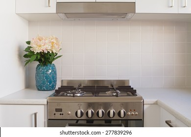 Close up of kitchen oven and tiled splashback in contempory apartment