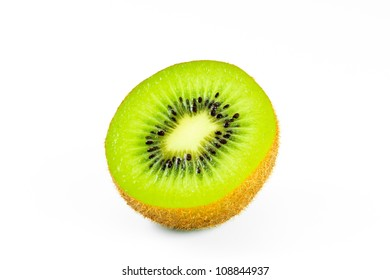 close up kiwi fruit on white background