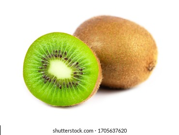 Close up of kiwi fruit and slice kiwi isolated on white background
