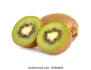 Close up of a kiwi isolated on a white background