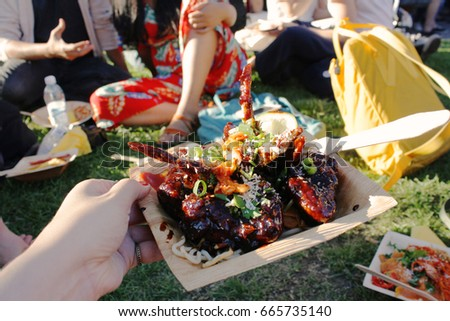 Close Korean Bbq Chicken Wings Food Stock Photo Edit Now 665735140