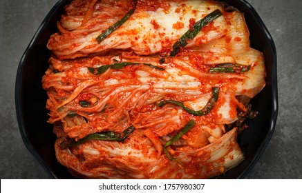 Close up Korean food, Kimchi cabbage in a bowl.