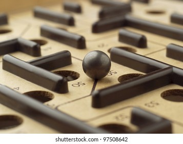 Close up of a Labyrinth Game