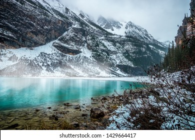 Close up of  Lake Louise at beginning of winter.