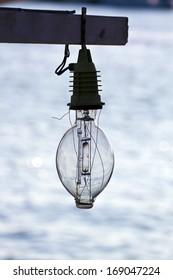 close up lamp of fishing boat