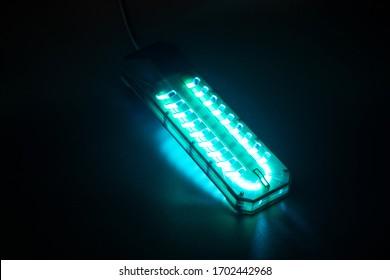 Close up the lamp of UV light sterilization. COVID-19 prevention concept.