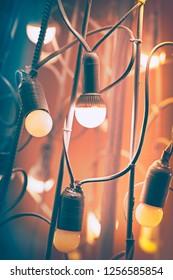 Close up lamps at night