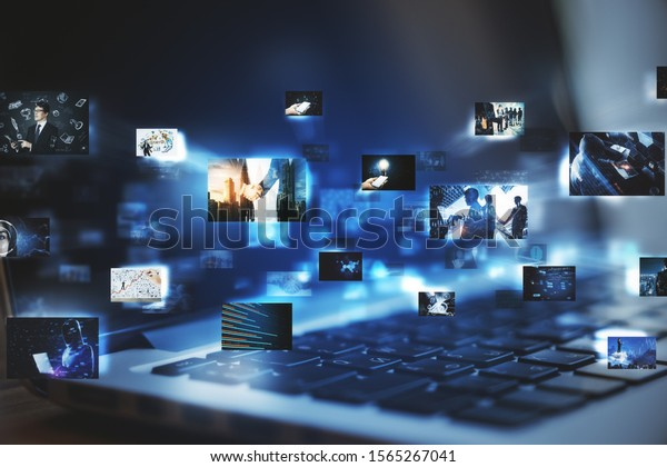 Close up of laptop with digital pictures on blurry dark background. Media photo gallery background. Double exposure