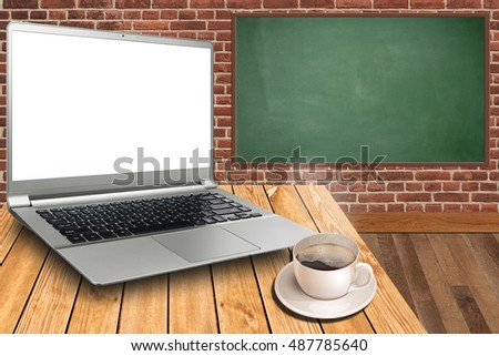 close laptop on top office table stock photo edit now 487785640 rh shutterstock com Workstation Table Tops Flip Top Table