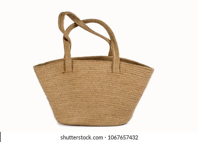 Close Up Of A Large Natural Plant Fibre Jute Burlap Bags Eco-Friendly & Reusable In Natural Brown Color Handles Isolated On White Background