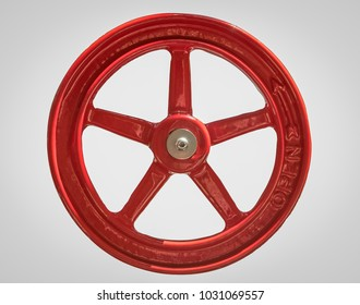 Close Up of a Large Red Industrial Opening Wheel Isoalted