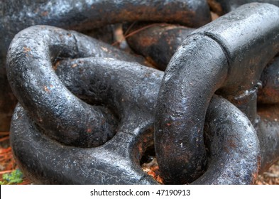 Close up of Large steel ships anchor chain