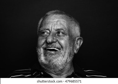 Close up of a laughing old man