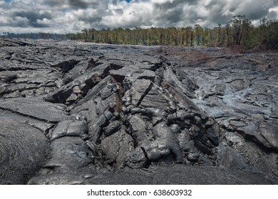 Close up lava flow in lava field Hawaii volcanoes National Park