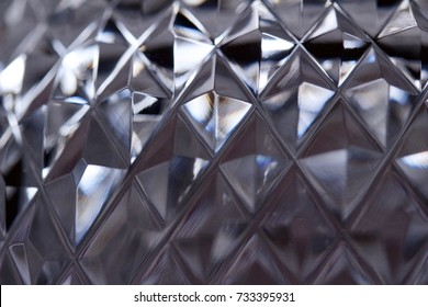 Close up of lead crystal facets imparts a beautiful textured abstract background