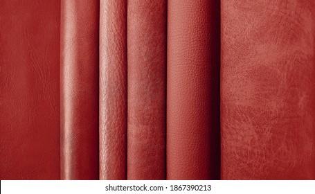 close up leather fabric samples catalog for interior uphostery works in various shade and tone of red color.