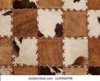 Close up leather patchwork textured background.