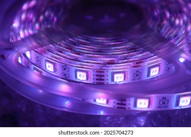 close up LED Strip 5050 RGB purple light background