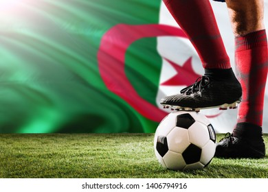 Close up legs of Algeria football team player in red socks, shoes on soccer ball at the free kick or penalty spot playing on grass.