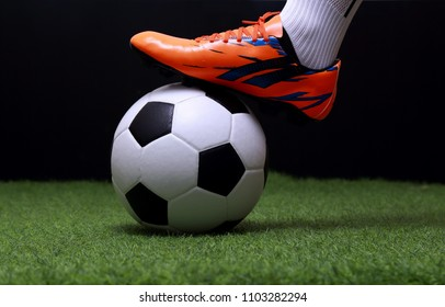 close up legs and feet of soccer player or football player walk on green grass ready to play match on black background.