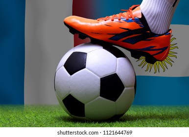 Close up legs and feet of soccer player or football player walk on green grass ready to play match on national France and national Argentine.