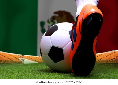 Close up legs and feet of soccer player or football player walk on green grass ready to play match on national Mexico flag background.