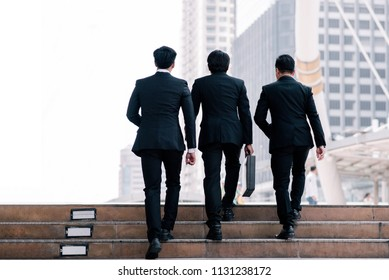 Close up legs group businessman walking step up stairs  in big city , Business concept,business growth, success