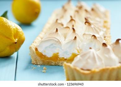 Close up of lemon meringue pie
