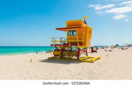 Close up of a lifeguard tower in world famous Miami Beach. Southern Florida, USA