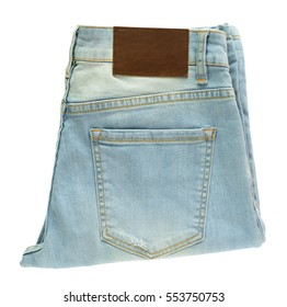 close up light blue jeans isolated on white background
