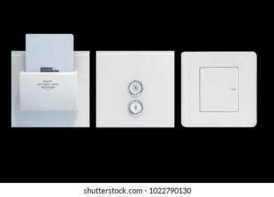 Close up light switch and Close up Close up hotel key card insert to power switch