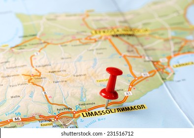 Close up of  Limassol, Cyprus  map with red pin    - Travel concept