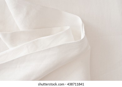 close up of linen textile - white background - fabric sample