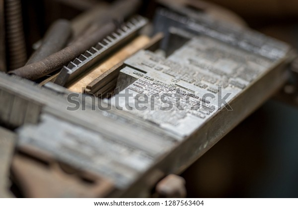 Close up of linotype letters - old printing industry