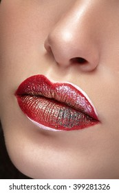 Close up lips with professional make up and lipstick