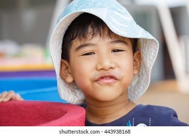 close up little boy smile