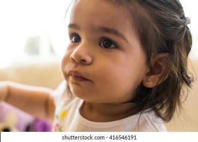 Close up of little girl's face