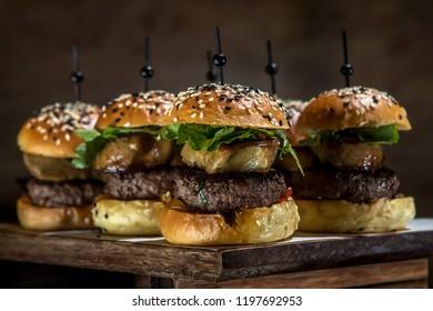 close up little hamburger