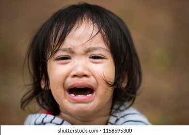 Close up Little kid girl crying with tearful on her face.