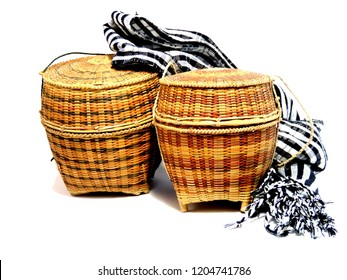 Close up  loincloth and basketry isolated on white back ground,traditional handicraft,north-eastern Thailand