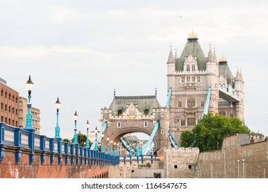 Close up of London Tower bridge from the street. Road leading to London Tower bridge.
