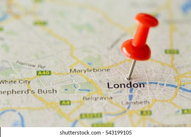 Close up of London ,United Kingdom map and red pin - Travel concept
