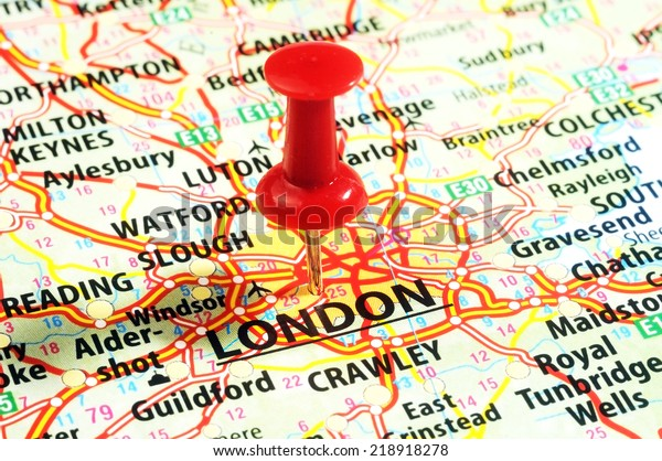 Close London United Kingdom Map Red Stock Photo (Edit Now ...