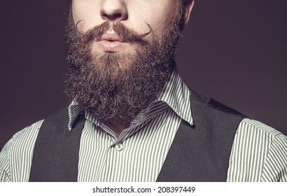 Close Up of long beard and mustache man