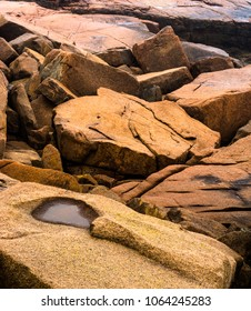 Close look at the coastline boulders of Acadia National Park, Maine.